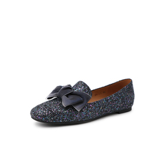 Belle/百丽平底单鞋2019春新专柜同款蝴蝶结格利特亮片布女皮鞋BN323AM9