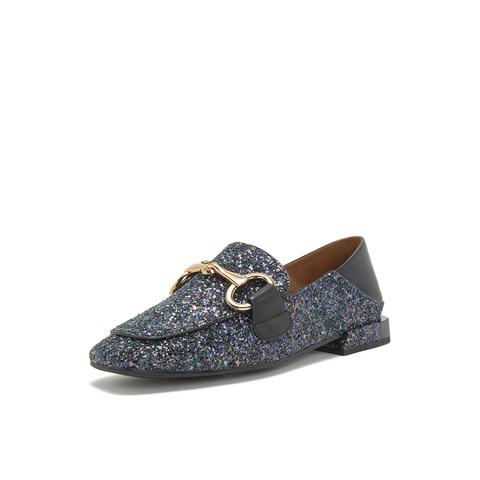 Belle/百麗馬銜扣樂福鞋2019春新商場同款款亮片布復古方頭女單鞋BK32DAM9