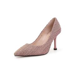 Belle/百丽细高跟单鞋2019春新商场同款折纹亮线布女鞋BVVB6AQ9