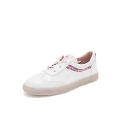 Belle/百丽彩色运动风小白鞋2019春商场同款新牛皮革女休闲平底板鞋BQ921AM9