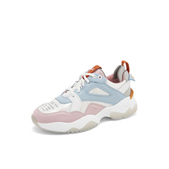Belle/百丽彩色运动风老爹鞋2019春商场同款新牛皮革厚底女休闲鞋BG620AM9
