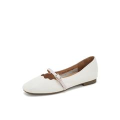 Belle/百丽奶奶鞋2019春商场同款新荔牛皮革低跟方头女单鞋BYY16AQ9