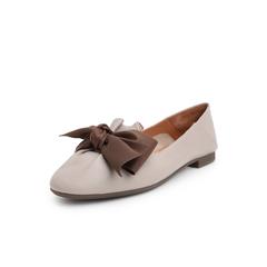 Belle/百丽2019春新商场同款蝴蝶结羊皮革女平跟单鞋T4U1DAQ9
