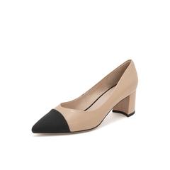 Belle/百丽尖头奶奶鞋2019春商场同款新羊皮革/布粗高跟女单鞋T4C1DAQ9