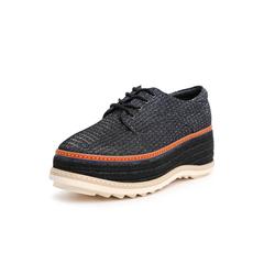 Belle/百丽厚底休闲鞋2019春季商场同款新?#20937;?#24067;女松糕鞋黑灰T4J1DAM9