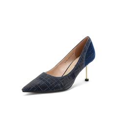 Belle/百丽高跟鞋2019春新亮线布OL通勤尖头酒杯跟女单鞋BVAA6AQ9