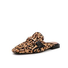 Belle/百丽2019春季商场同款新印花牛毛皮方头女马衔扣穆勒鞋BK332AH9