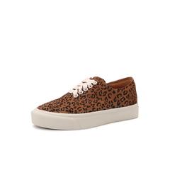 Belle/百丽板鞋2019春季商场同款新豹纹绒牛皮革低帮女休闲鞋3BO20AM9