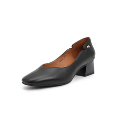 Belle/百丽奶奶鞋2019春商场同款新绵羊皮革粗跟浅口女单鞋3OF01AQ9