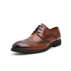 Belle/百丽婚鞋2019春季新牛皮革男布洛克鞋商务正装德比鞋93868AM9