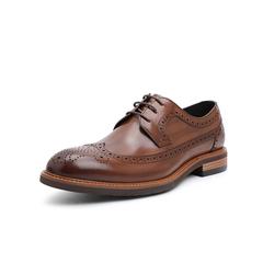 Belle/百丽婚鞋2019春季新牛皮革男布洛克皮鞋商务正装德比鞋11298AM9