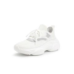 Belle/百丽运动风松糕鞋2019春商场同款新弹力布/胶片青春小白鞋女休闲鞋T5M1DAM9