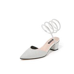 Belle/百丽罗马风缠绕2019?#30007;?#21830;场同款亮片布女皮凉鞋3Q230BH9