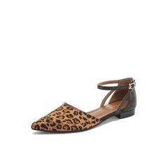 Belle/百丽2019?#30007;?#32442;织品/羊皮革撞色低跟简约尖头女凉鞋18000BK9