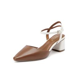 Belle/百丽2019?#30007;?#32650;皮革女撞色中空粗跟一字扣皮凉鞋19028BH9
