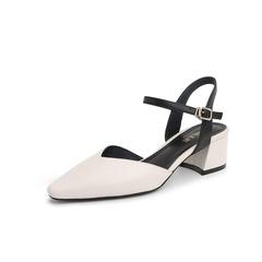 Belle/百丽撞色凉鞋2019?#30007;?#29275;皮革中空粗跟女鞋31275BH9