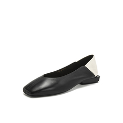 Belle/百丽奶奶鞋2019春新羊皮革撞色拼接低跟复古方头女皮鞋19157AQ9