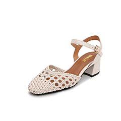 Belle/百丽2019?#30007;?#21830;场同款牛皮革/超纤编织女皮凉鞋T6Q2DBH9