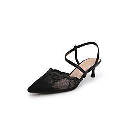 Belle/百丽猫跟鞋2019?#30007;?#21830;场同款蕾丝网布/羊皮革尖头女凉鞋T6T1DBH9