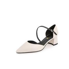 Belle/百丽一字式扣带2019?#30007;?#27454;绵羊皮革女皮凉鞋3A530BK9
