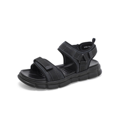 Belle/百丽沙滩鞋2019?#30007;?#39764;术贴织物/牛皮革男平跟凉鞋81808BL9