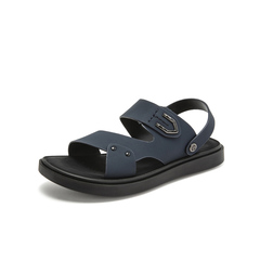Belle/百丽沙滩鞋2019?#30007;?#21830;场同款牛皮革男平跟休闲皮凉鞋5ZD01BL9