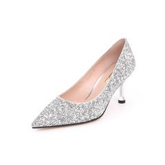 Belle/百丽婚鞋2019春新商场同款亮片布尖头细高跟女单鞋BVAA7AQ9