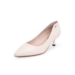 Belle/百丽猫跟鞋2019春新羊皮革女OL通勤尖头细跟单鞋BQ604AQ9