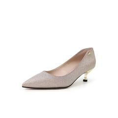 Belle/百丽通勤猫跟鞋2019春季新商场同款亮片PU女鞋Q604DAQ9