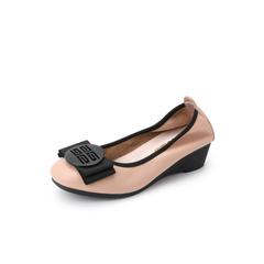 Belle/百丽蝴蝶结单鞋2019春新商场同款牛皮革女休闲鞋T7P1DAQ9