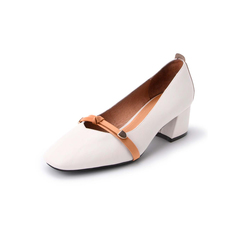 Belle/百丽复古浅口单鞋2019春新商场同款牛皮革/人造革女粗跟皮鞋3OF04AQ9