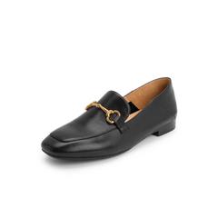 Belle/百丽英伦风乐福鞋2019春新商场同款牛皮革女方头休闲皮鞋BLNN6AM9