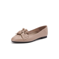 Belle/百麗淺口單鞋2019秋新商場同款蝴蝶結羊皮革女皮鞋U1R1DCQ9