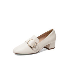 Belle/百麗2019秋新商場同款舒適粗跟牛皮革女皮鞋BZ928CM9