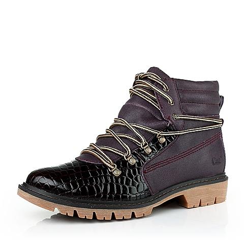 CAT/卡特紫红色牛皮女装休闲鞋粗犷装备(Rugged)CAT粗犷P306325