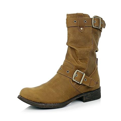 CAT卡特棕黄色牛皮女士户外休闲中靴P307045D3HZR45粗犷装备(Rugged)