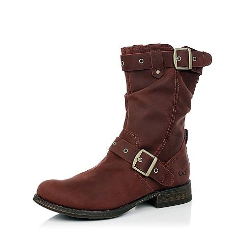CAT卡特酒红色牛皮女士户外休闲中靴P307046D3HZR27粗犷装备(Rugged)