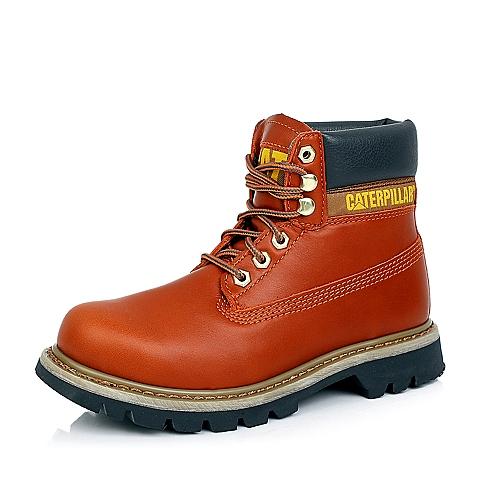 CAT卡特橙色牛皮/合成革女士户外休闲低靴P307011D3BDR30粗犷装备(Rugged)