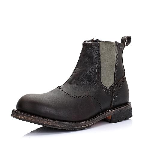 CAT卡特深咖牛皮/织物男士户外休闲低靴P717857D3BDL34传奇复古(LRC)
