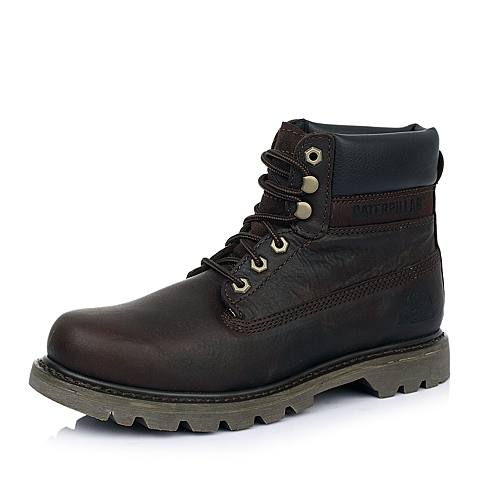 CAT/卡特深棕牛皮户外休闲鞋 粗犷装备(RUGGED)P717695D3BDR37