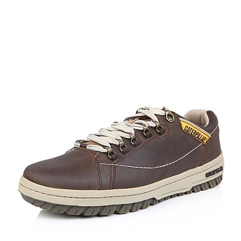 CAT卡特春夏专柜同款男子浅棕牛皮/人造革休闲满帮鞋活跃装备(Active)P711584E1EMA35