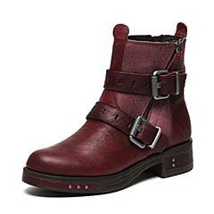 CAT/卡特秋季专柜同款酒红色牛皮女户外休闲鞋粗犷装备P309000F3UDR59