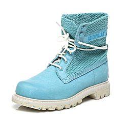 CAT/卡特专柜同款湖蓝色牛皮女休闲鞋粗犷装备(Rugged)P308377