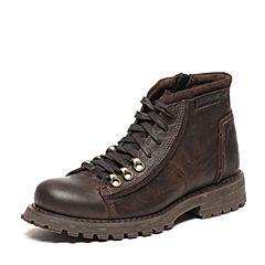 CAT/卡特秋季专柜同款深咖色牛皮/牛剖层革男户外休闲鞋传奇复古P720678F3UDL33