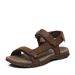 CAT/卡特春夏深棕色牛皮革/织物男户外休闲鞋粗犷装备(Rugged)P721281G2KLR39