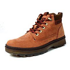 CAT/卡特秋冬红棕色牛皮/织物男户外休闲鞋粗犷装备(Rugged)P720292G3KDR43