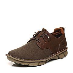 CAT卡特2018春夏季棕褐色牛皮革/织物男士户外休闲鞋粗犷装备(Rugged)P722400H1UMR15