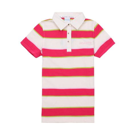 Columbia/哥伦比亚春夏桃红女款超卓速干 刺绣LOGO短袖T恤LL6322139
