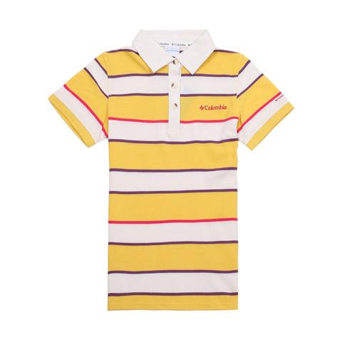 Columbia/哥伦比亚春夏黄色女款超卓速干 刺绣LOGO短袖T恤LL6322736