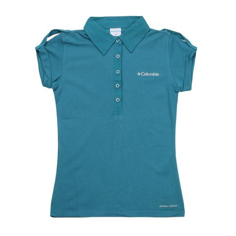 Columbia/哥伦比亚春夏蓝色女款超卓速干 刺绣LOGO短袖T恤LL6326442